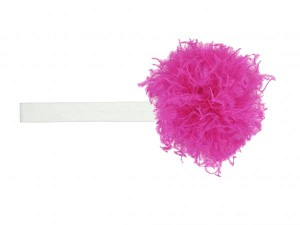White Flowerette Burst with Raspberry Small Curly Marabou