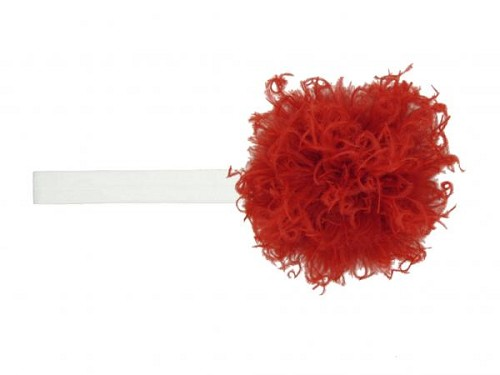 White Flowerette Burst with Red Small Curly Marabou