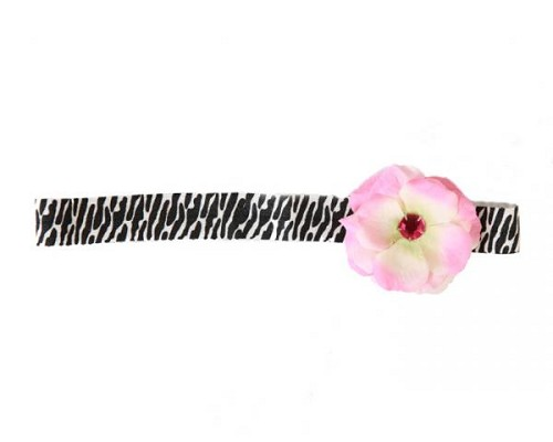 Black White Zebra Flowerette with Candy Pink Mini Rose