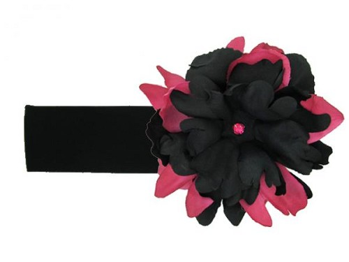 Black Soft Headband with Black Raspberry Small Peony