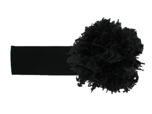 Black Soft Headband with Black Small Curly Marabou