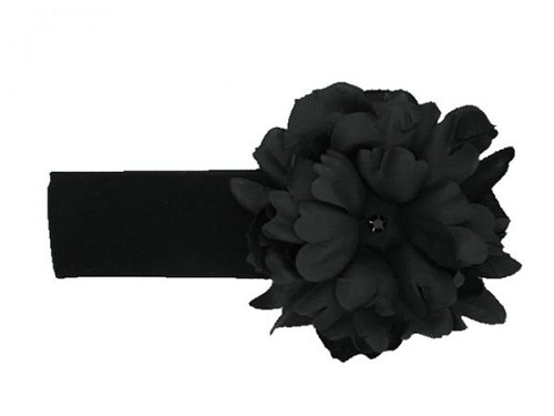 Black Soft Headband with Black Small Peony