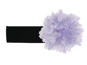 Black Soft Headband with Lavender Small Curly Marabou