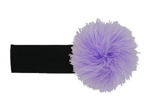 Black Soft Headband with Lavender Small Regular Marabou