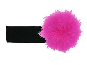 Black Soft Headband with Raspberry Small Regular Marabou