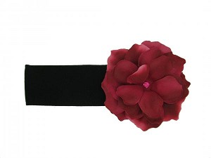 Black Soft Headband with Raspberry Small Rose