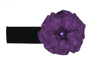 Black Soft Headband with Sequins Purple Rose