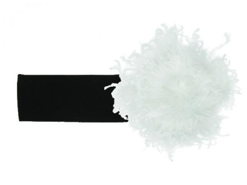 Black Soft Headband with White Small Curly Marabou