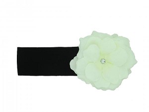Black Soft Headband with White Small Rose