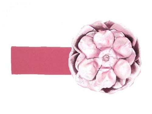 Candy Pink Soft Headband with Metallic Pale Pink Rose