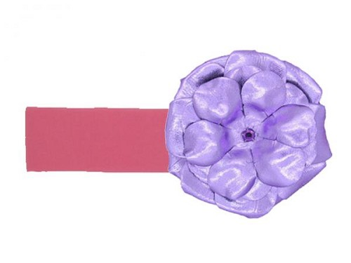 Candy Pink Soft Headband with Metallic Purple Rose