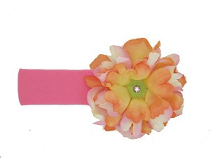 Candy Pink Soft Headband with Orange Pink Small Peony