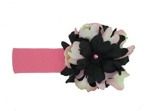 Candy Pink Soft Headband with Pink Black Small Peony