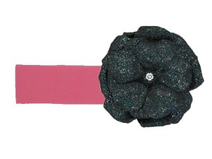 Candy Pink Soft Headband with Sequins Black Rose