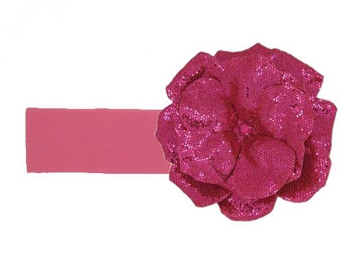 Candy Pink Soft Headband with Sequins Raspberry Rose