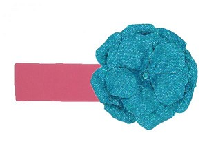 Candy Pink Soft Headband with Sequins Teal Rose