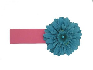 Candy Pink Soft Headband with Teal Daisy