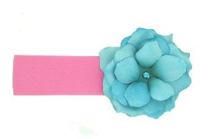 Candy Pink Soft Headband with Teal Small Rose