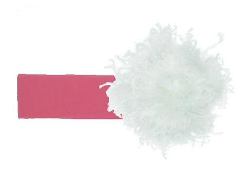 Candy Pink Soft Headband with White Small Curly Marabou