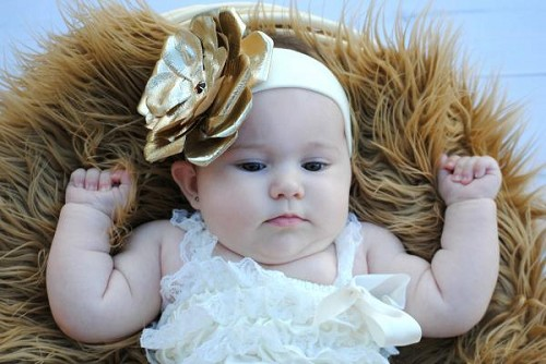 Cream Soft Headband with Metallic Gold Rose