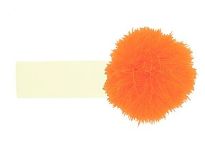 Cream Soft Headband with Orange Small Regular Marabou