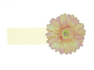Cream Soft Headband with Pale Pink Daisy