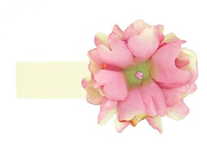 Cream Soft Headband with Pale Pink Small Peony