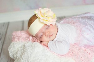 Cream Soft Headband with Pale Pink Small Rose