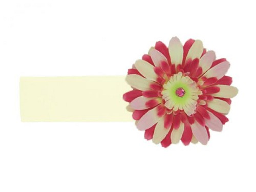 Cream Soft Headband with Pink Raspberry Daisy