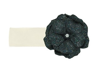 Cream Soft Headband with Sequins Black Rose