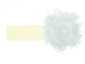 Cream Soft Headband with White Small Curly Marabou