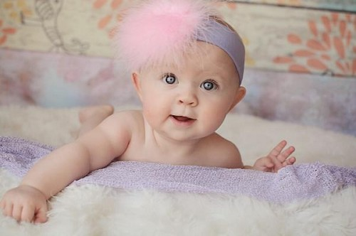 Lavender Soft Headband with Pale Pink Small Regular Marabou