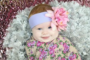Lavender Soft Headband with Pale Pink Small Peony