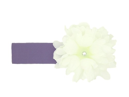 Lavender Soft Headband with White Small Peony