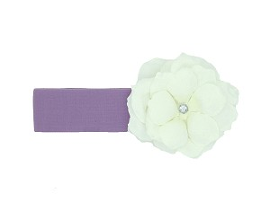 Lavender Soft Headband with White Small Rose
