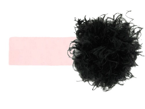 Pale Pink Soft Headband with Black Small Curly Marabou
