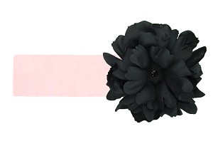 Pale Pink Soft Headband with Black Small Peony