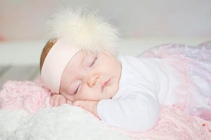 Pale Pink Soft Headband with Cream Small Regular Marabou