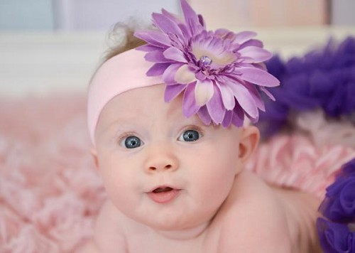 Pale Pink Soft Headband with Lavender Daisy