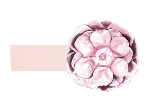 Pale Pink Soft Headband with Metallic Pale Pink Rose
