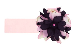 Pale Pink Soft Headband with Pink Black Small Peony
