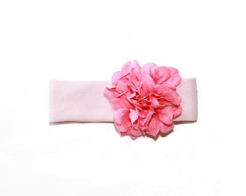 Pale Pink Soft Headband with Pale Pink Small Geraniums