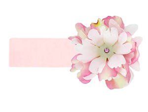 Pale Pink Soft Headband with Pink White Small Peony
