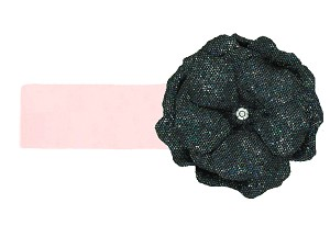 Pale Pink Soft Headband with Sequins Black Rose