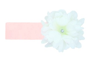 Pale Pink Soft Headband with White Small Peony