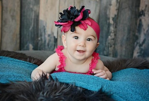 Raspberry Soft Headband with Black Raspberry Small Peony