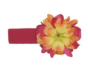Raspberry Soft Headband with Orange Raspberry Small Peony