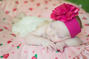 Raspberry Soft Headband with Raspberry Small Rose