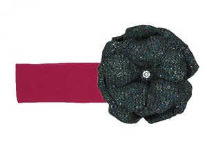 Raspberry Soft Headband with Sequins Black Rose