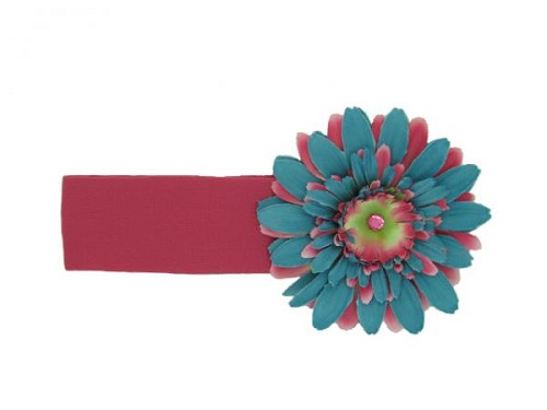 Raspberry Soft Headband with Teal Candy Pink Daisy